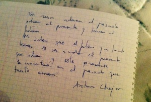 Antón Chejov hand writing quote